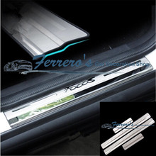 Free shipping 4pcs/lot Stainless steel car stickers of Door Sill Scuff Plate for 2012 2013 2014 2015 2015 2016 FORD FOCUS 3 MK3
