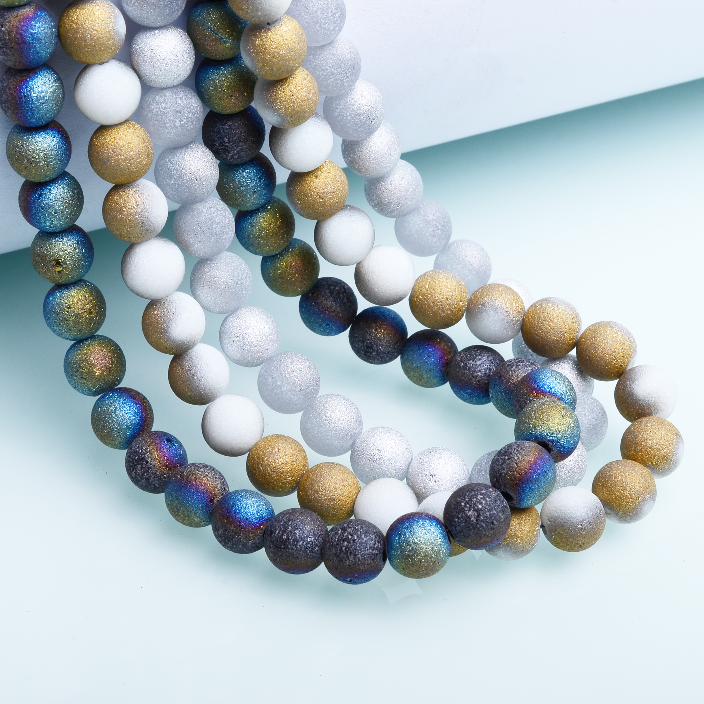 JuleeCrystal 8mm Matte Round Glass Beads Wholesale Imitation Druse Stone Beads for Jewelry Making