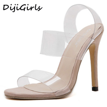 DijiGirls fashion transparent  High Heels Sandals zapatos mujer sapato feminino strappy wedding clear strap sandals dress shoes