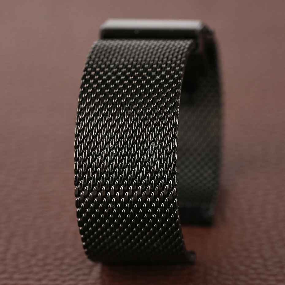 Mesh Milanese Bracelet Clasp Watchbands High Quality 18mm 20mm 22mm Silver Black Wrist Watch Band Strap for Clock Replacement 2018 (22)