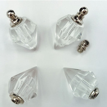 50pieces  14x19mm screw top seal spike transparent Crystal Ball Perfume bottle screw top seal popular necklace Pendant