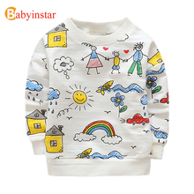 Babyinstar Kids T-shirts Cute Family Graffiti Boys T Shirt Long Sleeved Baby Girls Tops 2017 New Spring Autumn Children's Tees