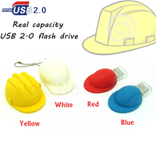 New cartoon Helmet usb flash drive Safety hat/Baseball cap pen drive memory stick real capacity u disk red/blue/yellow/white