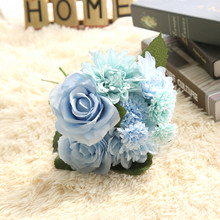 1 Bunsh Silk Artificial Flower Blue Dahlia Party Wedding Garden Celebrations Home Public places Festival Decor 30cm