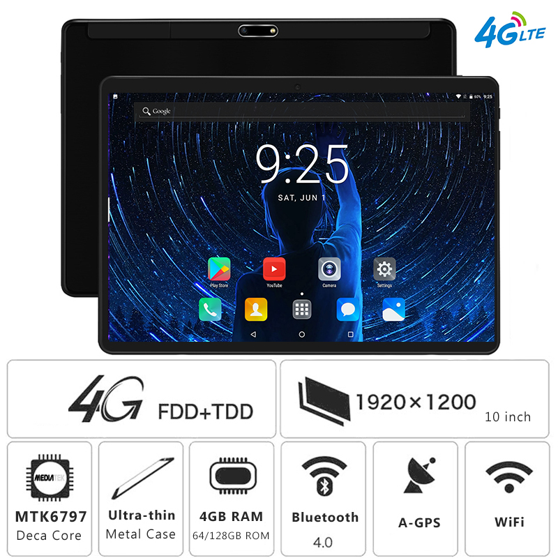 2019 New 10 inch 4G LTE Tablet PC Deca Core 4GB RAM 128GB ROM 1920*1200 IPS 2.5D Tempered Glass 10.1 Android 8.0 Tablets+Gifts(China)
