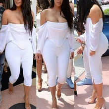 Most popular fashion summer white slash neck women's set sexy club wear clothing crop top and pencil pants long sleeve two piece