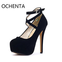 Original OCHENTA MENS14-1 Women's Ankle Strap Platform Pump Stiletto Party Dress Heel wedding shoes high heels women shoes(China)