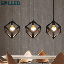 SOLLED Industrial Cube Metal Pendant Light Accessory Loft Ceiling Lamp for Home Bar Cafe(China)
