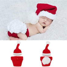 Infant Newborn photography props Christmas Cute Santa baby clothing hat crochet outfits baby accessories costume 5SY27(China)