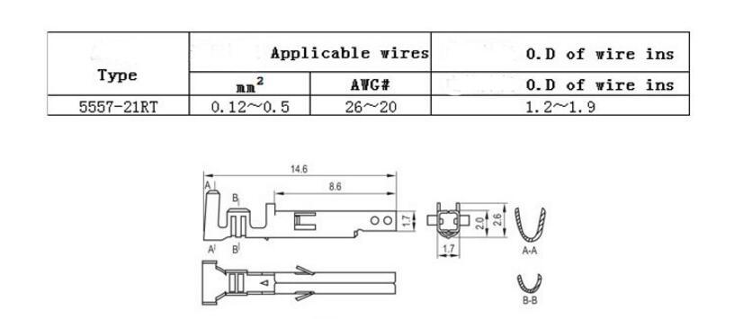 Promotion! 500pcs/lot Molex 5557 Terminal Plug Connectors Pitch: 4.2 MM Wire Cable Housing Female Pin