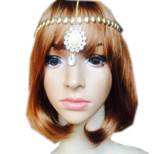 Gold Color Jeweled Head piece Bridal Wedding Boho Grecian Goddess Head Piece Glamour Fancy Hair Accessory