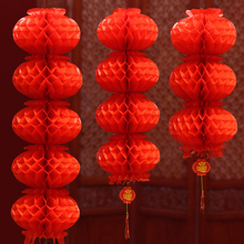 Chinese Wedding Decoration Red Honeycomb Plastic Paper Lanterns Chinatown Wish Wealth Garden Outdoor Decor String Garland Craft(China)