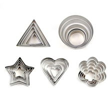 5 Pcs/set Stainless Steel Fondant Cake Baking Mold Round Heart Flower Star Shape Cookie Biscuit Cutter Decorating Moulds