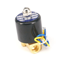 "DC12V N/C 2 Way 1/4""BSP Gas Water Pneumatic Electric Solenoid Valve Oil 2W-025-08 Wire Lead Type"
