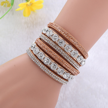 2016New Multilayer crystal Wrap bracelet Rhinestone deluxe bracelet Double wrap leather bangle Pulseiras(China)