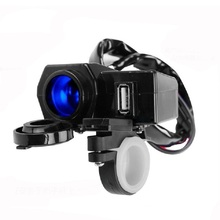Waterproof 12V Motorcycle Moto USB Scooter Cigarette Lighter Handlebar Clamp Power Charger Outlet Socket Splitter Adapter