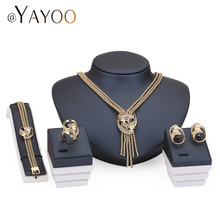 AYAYOO African Jewelry Sets For Women Wedding Imitated Crystal Gold/Silver Color Fashion Tassel 4Pcs Sets Party Accessories(China)