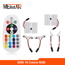 T10 5050 SMD 16 Colors RGB LED Panel Car Auto Interior Reading Map Lamp Bulb Light Dome Festoon Remote Controller Flash/Strobe(China)