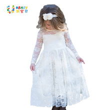 Girl Lace Long Dress Flower For Age 2-12 Baby Kids Princess Formal Wedding Prom Party Dress White/Cream Big Bow Sweet Clothing(China)