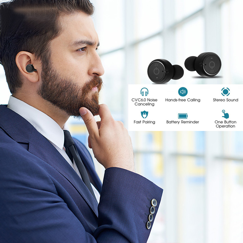 Twins Wireless Bluetooth Earphone Portable Sport In-Ear Earpieces Stereo Mini Invisible Earbuds with Charging Box for Xiaomi