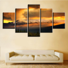 5 Pieces/Set Fire Sky Over The Snow Mountains No Frame Oil Painting Canvas Prints Wall Art Pictures For Living Room Decorations(China)