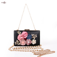 Moccen Flowers Evening Handbag Beaded Women Clutches Fashion Hangbags Party Purses And Hand Bag Female Clutch Bag Wallet Purse(China)