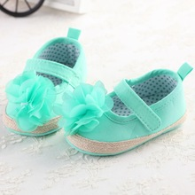 Flower Green White Baby Girls Dress Shoes Infant Kid Anti Slip First Walkers Footwear Baby Princess Shoes Mary Jane Shoe Sapatos(China)