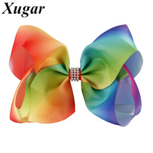 7'' Colorful Rainbow Hair Bow With Boutique Rhinestone Handmade Ribbon Hairgrips Hair Accessories For Girl Kids