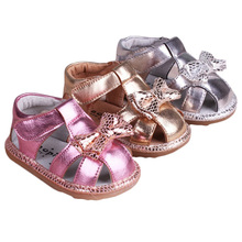 2017 baby toddler sandals toe cap covering sandals genuine leather soft sole shoes children sandals girls sandals(China)