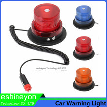 12V 8W Blue Yellow/Amber Red LED Car Truck Roof Magnetic Base Police Warning Light Flashing Beacon Strobe Caution Emergency Lamp