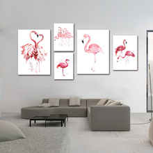 Watercolor Flamingo Canvas Art Print Painting Poster, Wall Pictures for Home Decoration, Wall Decor