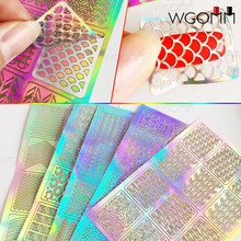12 Tips/Sheet DIY Fashion Women Nail Vinyls Nail Art Manicure Stencil Stickers Stamp Template Decals Tool Nice(China)