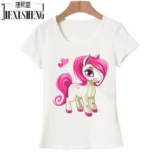 2017 Newest Funny Unicorn Rainbows Women T-Shirt Summer Harajuku Cartoon T Shirt Women's Fashion Novelty Short Sleeve Tee Tops(China)
