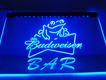 LA415- Budweiser Frog Bar Beer   LED Neon Light Sign     home decor  crafts
