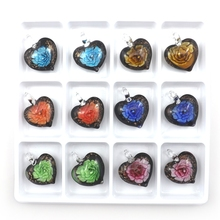 Cute Heart Shaped Black Background Handmade All Glass Work Pendant With Bright Color Flower Inside 12pcs/lot
