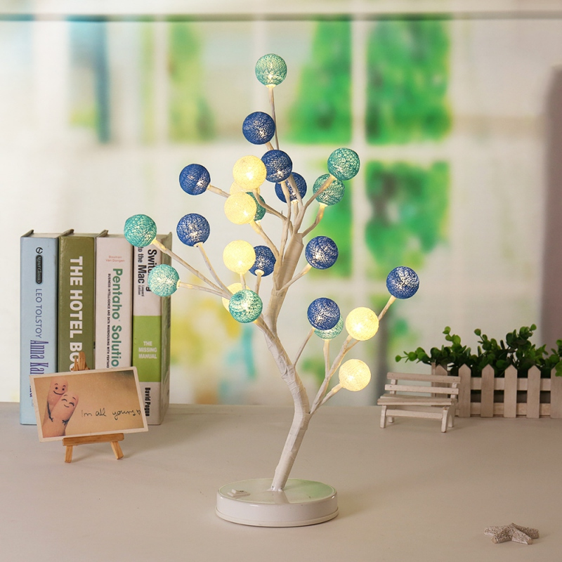 Creative Night Light Rose Potted Plant Decorative Cotton Ball Desk Top Bonsai Tree Lights With 24led Beads Lighting Y40 Led Lamps