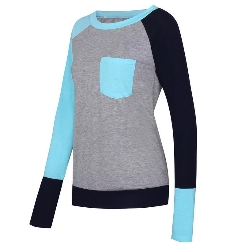 Composite Bats Autumn Women Pocket Long Sleeve Baseball T-Shirt Round Neck Patchwork Female Pocket Tees Casual Tee Shirts Women Tops