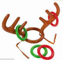 New Outdoor Funny Game Toys Christmas Kid Gift Inflatable Toys Reindeer Antler Ring Toss Luau Tropical Beach Pool Party Game