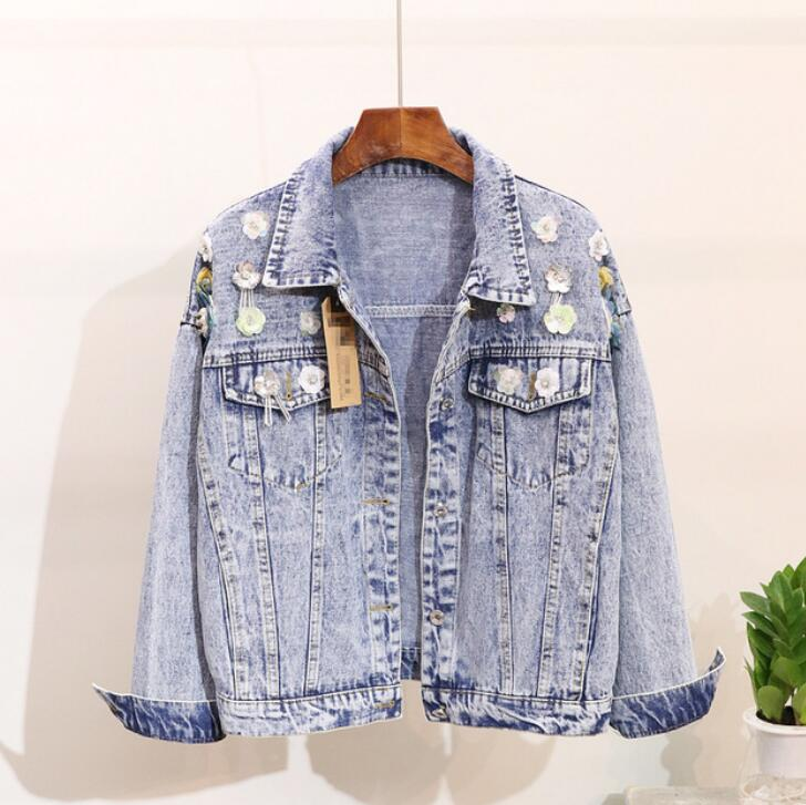 2018 frühling Herbst Neue Mode der Frauen Lose Kurze Denim Jacke Student Weibliche Loch Pailletten Jeans Mantel Lose Outwear