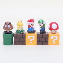 5pcs/set 5cm Super Mario Bros figures Toys Mario Goomba Luigi Koopa Troopa Mushroom PVC Action Figure Model Blocks Dolls(China)
