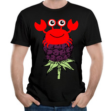 Summer Berries And Red Crab Tees Men Black T-Shirt Cotton Print Hip Hop Clothing Short Sleeve Man Tops
