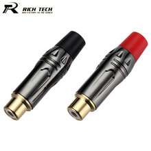 10pcs Speaker RCA Connector RCA Female Jack Audio Cable Adapter RCA Socket Converter Goldplated Gunmetal 5Pairs Red+Black