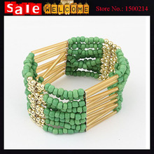 Ethnic Beads String Link Bracelets Alloy Hollow Wide Wristband Elatic Wrap Large Bangles Bracelets Jewelry Accessories for Women