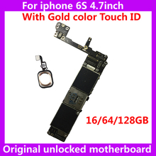 16GB 64GB 128GB Original motherboard for iphone 6S install IOS system with chips unlocked mainboard+Fingerprint for iphone6S IOS(China)