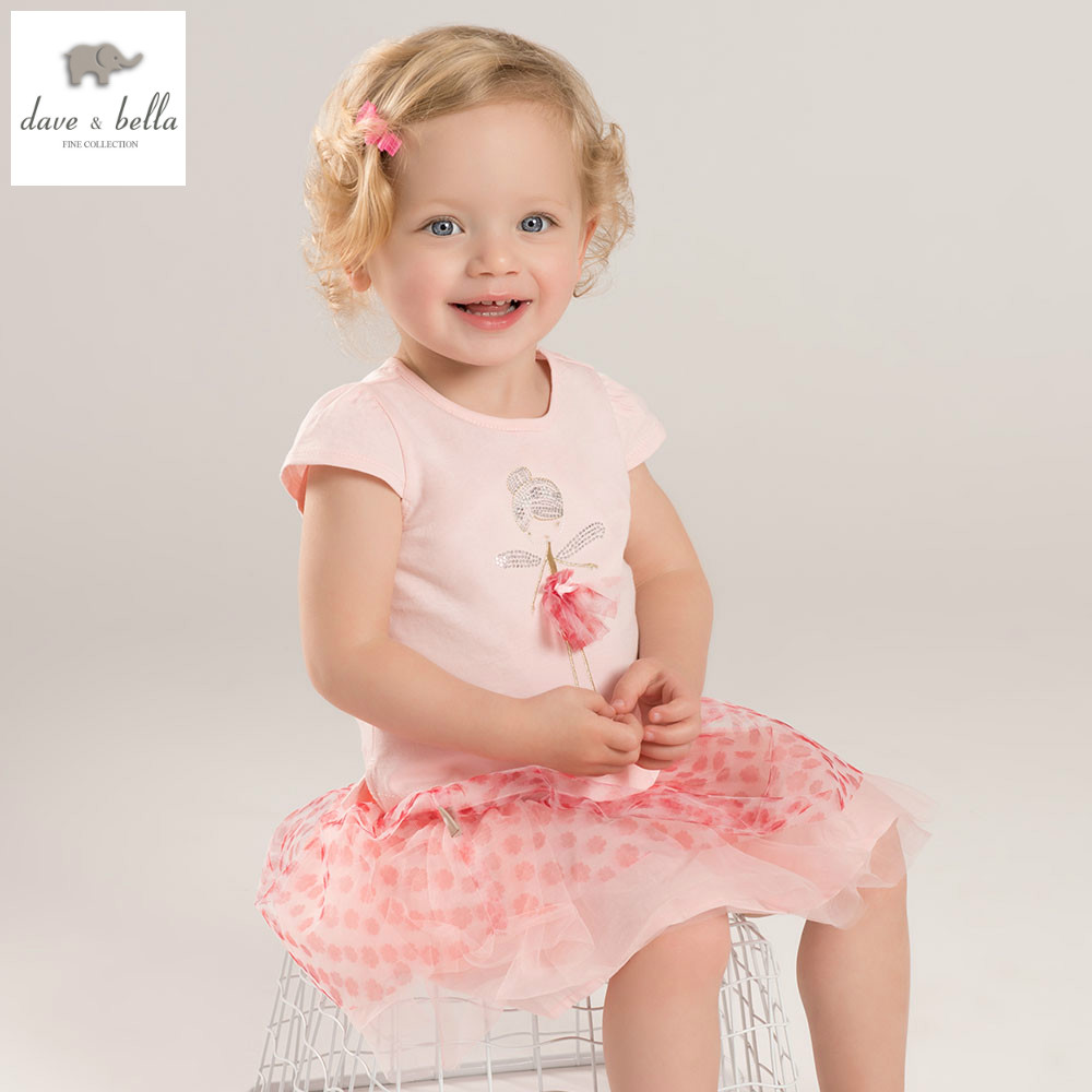 DB5468 dave bella summer baby girls set pink flowers 2 pc set girls skirt sets infant clothes kids baby costumes<br>
