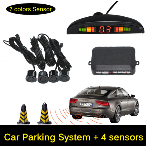 12V LED Car Parking Sensor Monitor Auto Reverse Backup Radar Detector System + LED Display + 4 Sensors + Black + Silver(China)