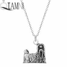 QIAMNI 1pcs Unique 3D Realistic Maltese Animal Dog Breed Pendant Necklace Punk Gift for Women and Girls