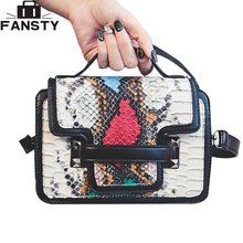 2016 European Fashion Ladies Women Messenger Bag PU Snake Leather Crossbody Bag Brand Designer Handbags High Quality for Younth