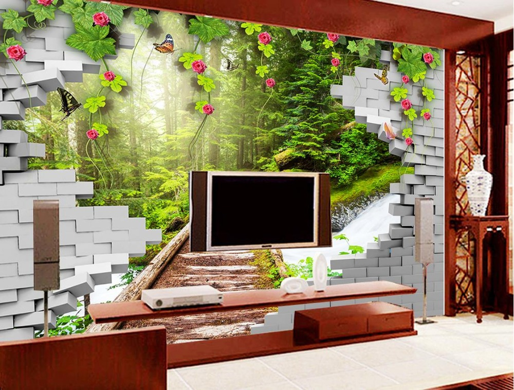 3d stereoscopic wallpaper Custom 3d wallpapers for living room Broken wall tiles Wooden board path Grassland woods 3d nature <br>