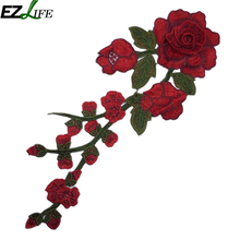 33cm*15cm Applique Embroidery Flower Patches For Clothing Polyester Yarn Parches Termoadhesivos Para Ropa Garment Decor #617(China)